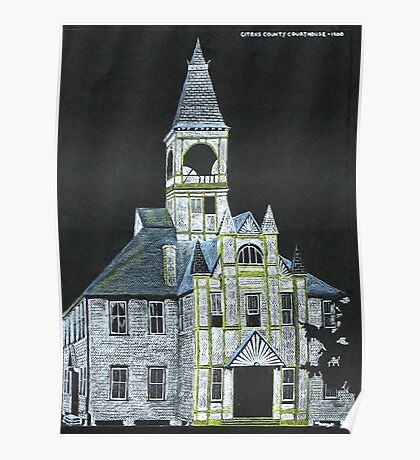 """""""Citrus County Courthouse 1900"""" original signed drawing Poster"""