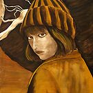 &quot;Girl in Brown and Gold&quot; original signed acrylic painting on canvas by Michael Arnold