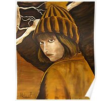 """Girl in Brown and Gold"" original signed acrylic painting on canvas Poster"