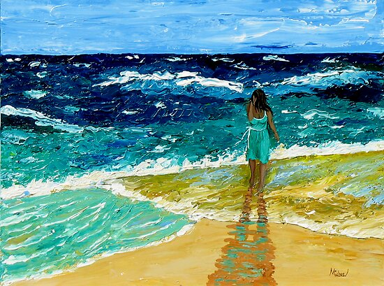 """""""Girl  on Beach"""" original nature seascape painting by Michael Arnold"""
