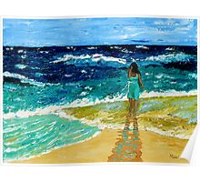 """Girl  on Beach"" original nature seascape painting Poster"