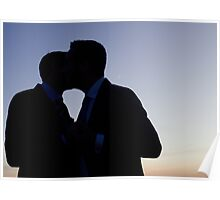 LGBT gay wedding marriage grooms kiss silhouette wedding photo Poster