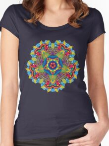 Psychedelic jungle kaleidoscope ornament 36 Women's Fitted Scoop T-Shirt