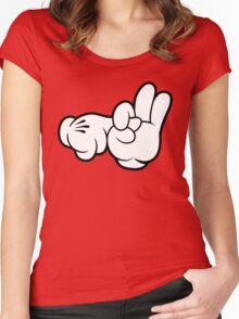 Funny Fingers. Women's Fitted Scoop T-Shirt