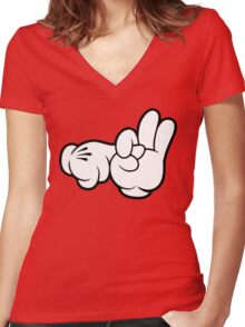 Funny Fingers. Women's Fitted V-Neck T-Shirt