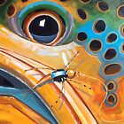 """""""Brownie with Yellow Sally"""" - Trout Painting by Eric Houghland"""