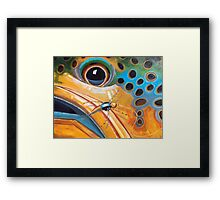 """Brownie with Yellow Sally"" - Trout Painting Framed Print"