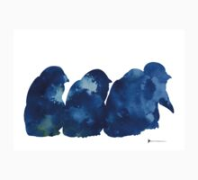 Penguins silhouette watercolor poster for sale T-Shirt