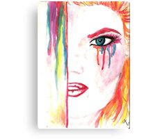 Watercolor drawing wit ginger girl Canvas Print
