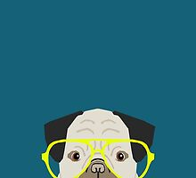 Emerson - Pug with neon Hipster Glasses, Cute Retro Dog, Dog, Husky with Glasses, Funny Dog by PetFriendly