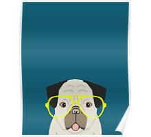 Emerson - Pug with neon Hipster Glasses, Cute Retro Dog, Dog, Husky with Glasses, Funny Dog Poster