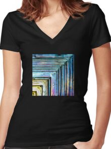 Abstract Bismuth Women's Fitted V-Neck T-Shirt