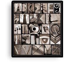 Alphabet Monochrome Print Canvas Print