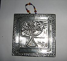 WOODEN -PLAQUE DECORATED WITH METAL FOIL by joolsea