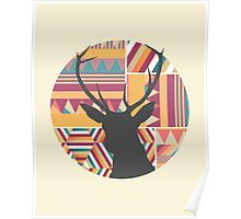 Aztec Geometric silhouette print Poster