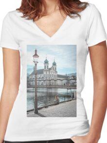 Swiss City Women's Fitted V-Neck T-Shirt