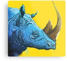 Blue Rhino on Yellow Background Metal Print