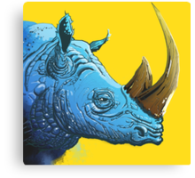 Blue Rhino on Yellow Background Canvas Print