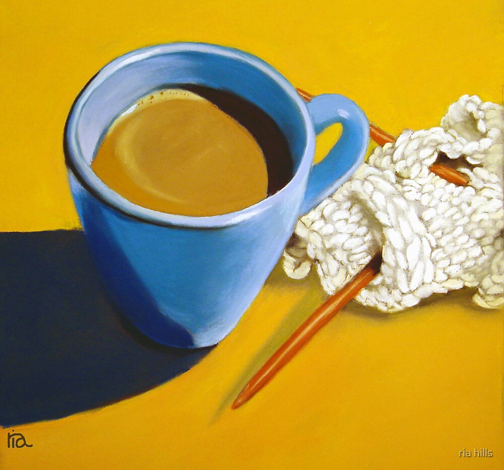 coffee and knitting by ria hills
