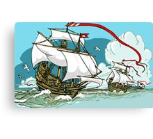 The Great Discoveries - Three Galleons Sailing Canvas Print