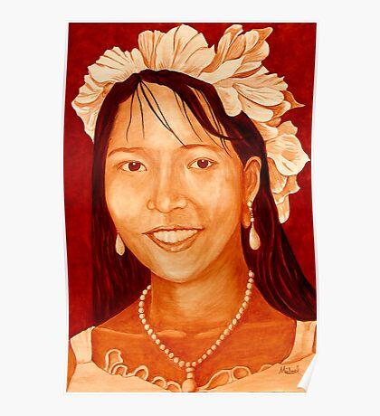 """Maribel"" original signed acrylic portrait painting on canvas Poster"
