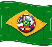 football field looks like Brazil flag with ball by siloto