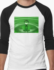 Green Water Drop Men's Baseball ¾ T-Shirt