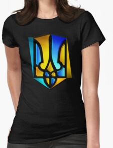 Blue and Yellow Tryzub Womens Fitted T-Shirt