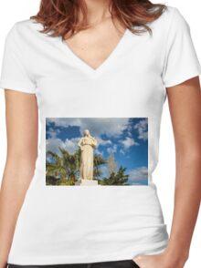Greek lyric poet Sappho Women's Fitted V-Neck T-Shirt