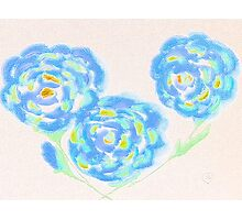 Blue Flowers by Amber Feng Shui Art.. Photographic Print