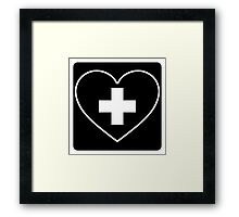 Get Well Soon, Sexy Nurse, Black, Heart, First Aid, Medical Framed Print