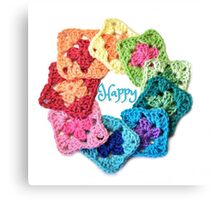Happy Everything Granny Squares Canvas Print