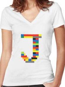 J t-shirt Women's Fitted V-Neck T-Shirt