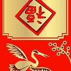 Lucky Chinese Crane in Red and Gold by elledeegee