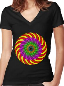 Colorful T-shirt Women's Fitted V-Neck T-Shirt