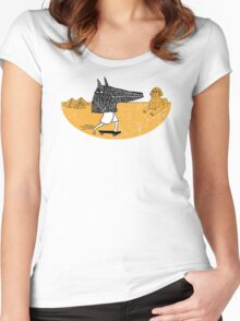 Anubis Fanboy on a Skateboard Women's Fitted Scoop T-Shirt