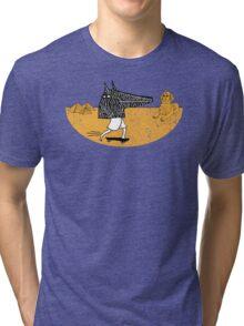 Anubis Fanboy on a Skateboard Tri-blend T-Shirt