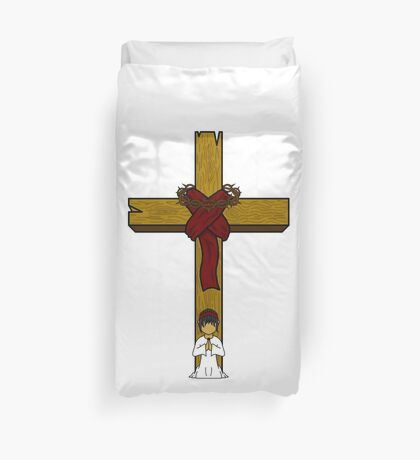I Kneel At The Feet Of The Cross Duvet Cover