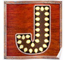 Vintage Lighted Sign - Monogram Letter J Poster