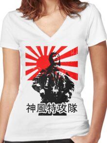 Shimpū Tokkōtai (Kamikaze)... Women's Fitted V-Neck T-Shirt