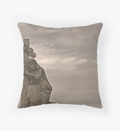 headstone in grey Throw Pillow