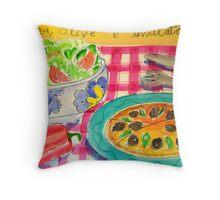 PIZZA , OLIVE , E  INSALATA ( PIZZA , OLIVES ,& SALAD ) Throw Pillow
