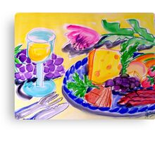 WHITE  WINE , CHEESE  &  FRUIT  PLATTER Canvas Print