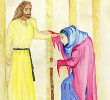 Jesus Heals the Crippled Woman on the Sabbath.. with Verse by Anne Gitto