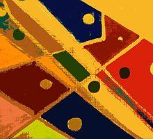Retro Abstract Art Golden by cindywilsonart