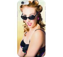 Surprised pinup girl on tropical beach background iPhone Case/Skin