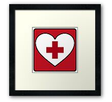 Get Well Soon, Red Cross, First Aid, Sexy Nurse, Heart,  Framed Print