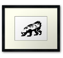 Honey Badger (black) Framed Print