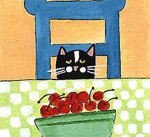 Black Cat & Bowlful of Cherries by ChrisQ