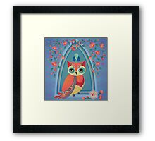Owl Retro Design – Naïve Style Bird Series Framed Print